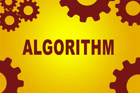 solve: ALGORITHM sign concept illustration with red gear wheel figures on yellow background Stock Photo