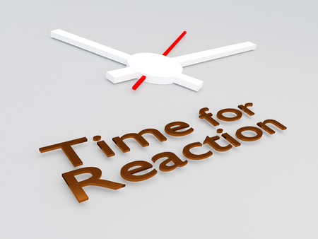 3D illustration of Time for Reaction title with a clock as a background