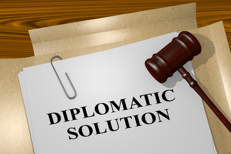 diplomat: 3D illustration of DIPLOMATIC SOLUTION title on legal document