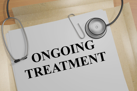 3D illustration of ONGOING TREATMENT title on a medical document