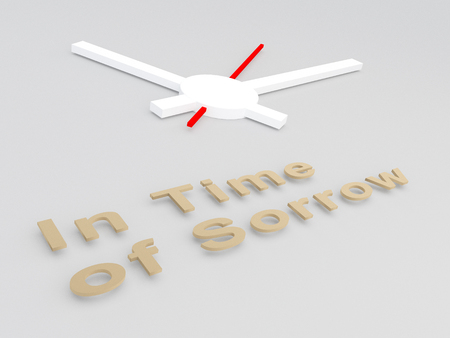 3D illustration of In Time Of Sorrow title with a clock as a background
