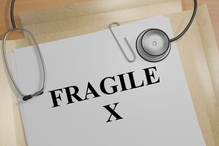 3D illustration of FRAGILE X title on a medical document 版權商用圖片