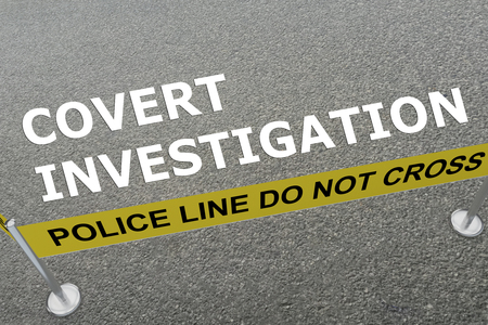 veiled: 3D illustration of COVERT INVESTIGATION title on the ground in a police arena Stock Photo