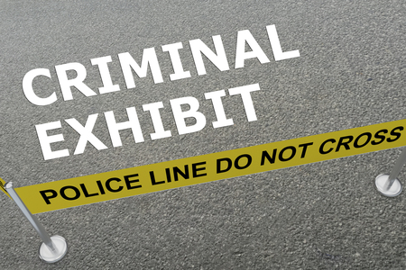 perpetrator: 3D illustration of CRIMINAL EXHIBIT title on the ground in a police arena