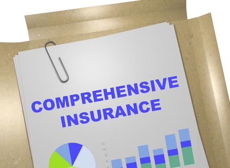 3D illustration of COMPREHENSIVE INSURANCE title on business document