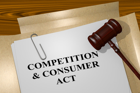 3D illustration of COMPETITION & CONSUMER ACT  title on legal document