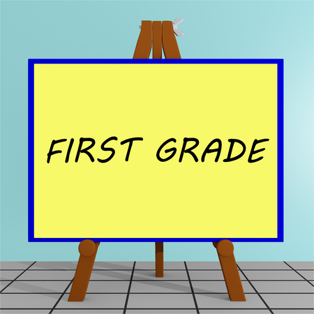 3D illustration of FIRST GRADE title on a tripod display board