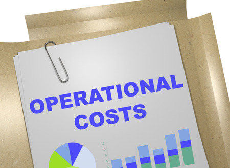 3D illustration of OPERATIONAL COSTS title on business document