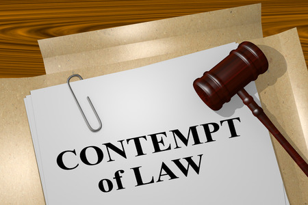 3D illustration of CONTEMPT of LAW title on legal document