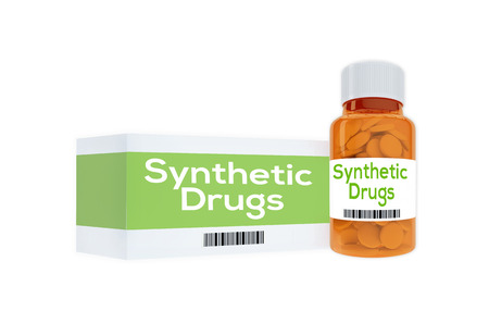 3D illustration of Synthetic Drugs title on pill bottle, isolated on white.