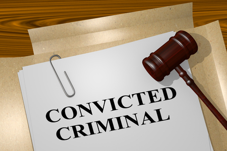 shackles: 3D illustration of CONVICTED CRIMINAL title on legal document