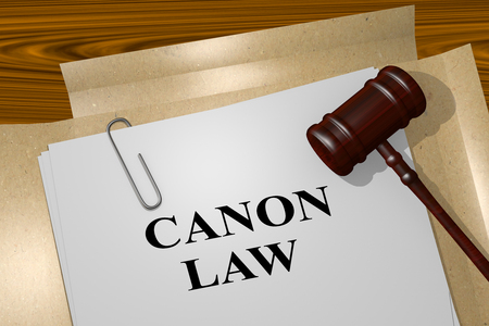 mandate: 3D illustration of CANON LAW title on legal document Stock Photo