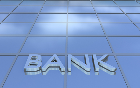 Low angle view of bank sign at office building