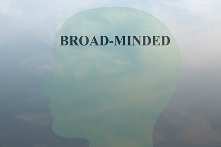 Render illustration of BROAD-MINDED script on head silhouette, with cloudy sky as a background.