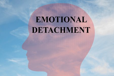 detachment: Render illustration of EMOTIONAL DETACHMENT title on head silhouette, with cloudy sky as a background. Stock Photo