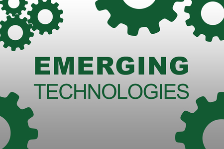 EMERGING TECHNOLOGIES sign concept illustration with green gear wheel figures on gray background Stock Photo