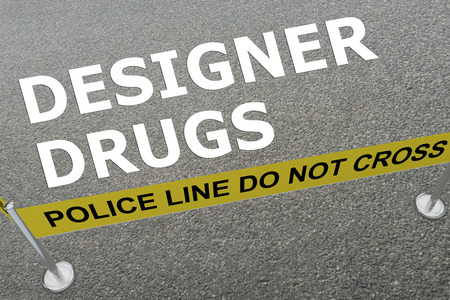 compounding: 3D illustration of DESIGNER DRUGS title on the ground in a police arena Stock Photo