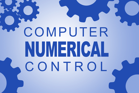 drill: COMPUTER NUMERICAL CONTROL sign concept illustration with blue gear wheel figures on pale blue background Stock Photo
