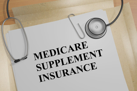 """Ilustración 3D del título """"MEDICARE SUPPLEMENT INSURANCE"""" en un documento médico Foto de archivo"""