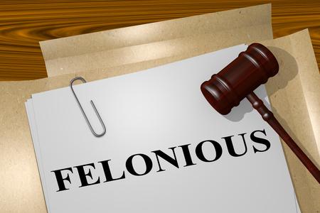 3D illustration of FELONIOUS title on legal document