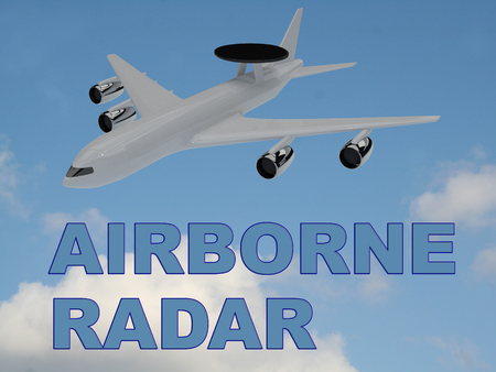 pilot  cockpit: 3D illustration of AIRBORNE RADAR title on cloudy sky as a background, under an airplane with a round radar antena mounted upon it.