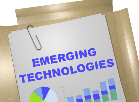 3D illustration of EMERGING TECHNOLOGIES title on business document Stock Photo