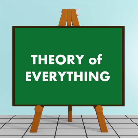 3D illustration of THEORY of EVERYTHING title on a tripod display board