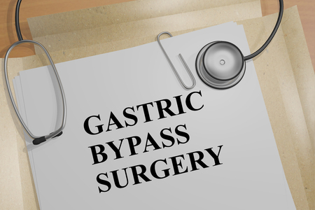 3D illustration of GASTRIC BYPASS SURGERY title on a medical document