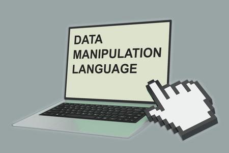 ノート パソコンの画面を指差し手アイコンを指している「データ操作言語」スクリプトの 3 d イラストレーション