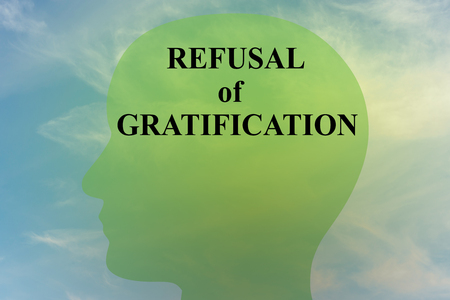 Render illustration of REFUSAL of GRATIFICATION script on head silhouette, with cloudy sky as a background.