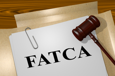 financial institutions: 3D illustration of FATCA title on legal document Stock Photo