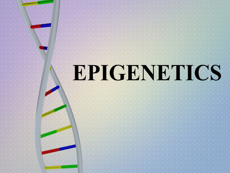 3D illustration of EPIGENETICS script with DNA double helix , isolated on colored pattern. Imagens