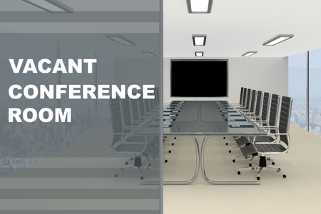 gray: 3D illustration of VACANT CONFERENCE ROOM title on a glass compartment Stock Photo