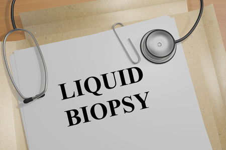 3D illustration of LIQUID BIOPSY title on a medical document Stock Photo