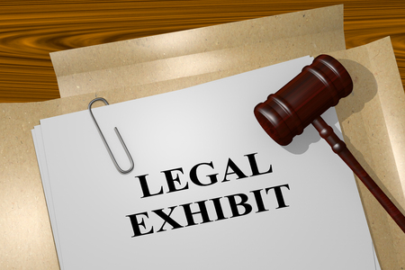 perpetrator: 3D illustration of LEGAL EXHIBIT title on legal document Stock Photo