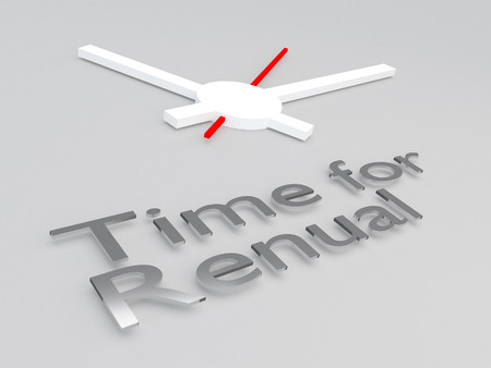 3D illustration of Time for Renewal title with a clock as a background
