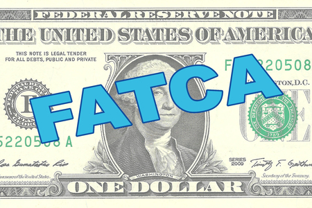 taxpayers: Render illustration of FATCA title on One Dollar bill as a background Stock Photo