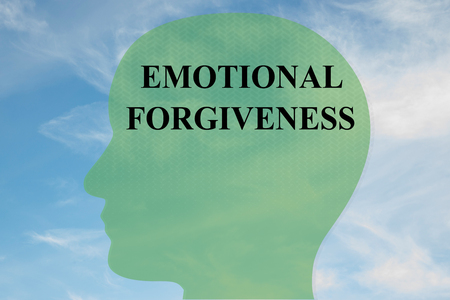 Render illustration of EMOTIONAL FORGIVENESS title on head silhouette, with cloudy sky as a background.