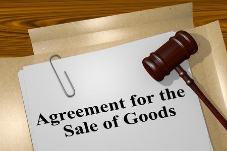 """3D-afbeelding van de titel """"Overeenkomst voor de verkoop van goederen"""" op wettelijk document"""