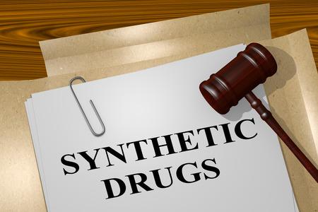 methamphetamine: 3D illustration of SYNTHETIC DRUGS title on legal document