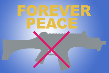 FOREVER PEACE sign concept illustration with GRAY rifle silhouette and red X on blue gradient Stock Photo
