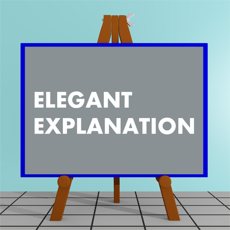 persuade: 3D illustration of ELEGANT EXPLANATION title on a tripod display board