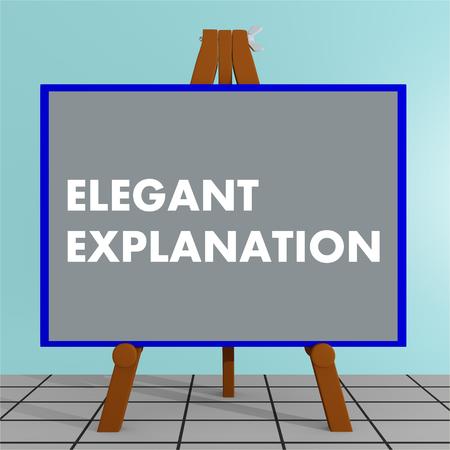 """Illustration 3D du titre """"ELEGANT EXPLANATION"""" sur un écran de trépied Banque d'images - 82832525"""