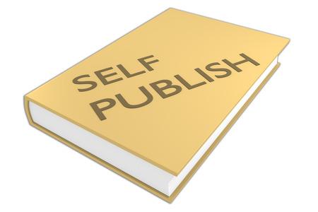 白で隔離、本の「自己発行」スクリプトの 3 D イラストレーション。