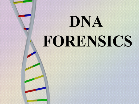 3D illustration of DNA FORENSICS script with DNA double helix , isolated on red gradient.