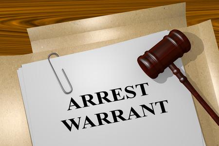 """Illustration 3D du titre """"ARREST WARRANT"""" sur un document légal"""
