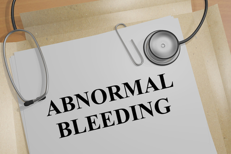3D illustration of ABNORMAL BLEEDING title on a medical document