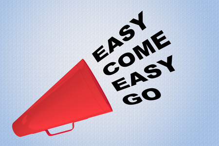 3D illustration of EASY COME EASY GO title flowing from a loudspeaker