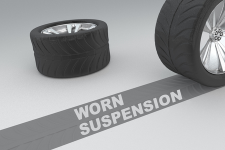 3D illustration of WORN SUSPENSION title with two tires as a background Stock Photo