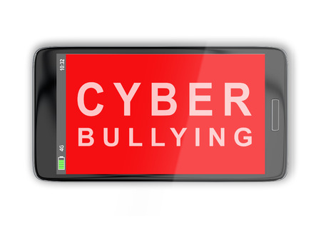 3D illustration of CYBER BULLYING title on cellular screen, isolated on white. Communication concept.